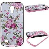 URFEDA® 2 in 1 Case für Samsung Galaxy S4 Mini Hülle Blumen Muster TPU Cover mit Pink Bumper Hart PC Schutz Hülle Case Tasche Schutzhülle Handyhülle für Samsung Galaxy S4 Mini I9190