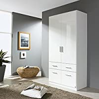 Preisvergleich für Kleiderschrank hochglanz weiß 2 Türen B 91 cm Schrank Drehtürenschrank Kinderzimmer Jugendzimmer Kinderzimmerschrank Schlafzimmer