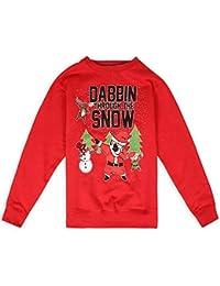Parsa Fashions® Unisex Kids Limited Edition Ugly Christmas Dabbin Through The Snow Sleigh Bells Sweatshirt Elf Santa Novelty Retro Jumper Xmas Funny Gift- Age 7-13