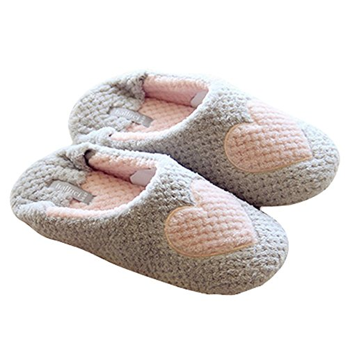 Butterme Womens Ladies Sweet Love Heart Pattern Plush House Slippers Indoor Non-skid...