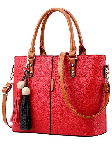 Menschewear Ladies Pu Borse Donna Borsetta Nero Borsa Scuola Donna Borse Rosso-rosso Vienna