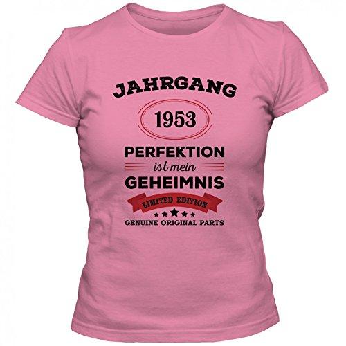 Jahrgang 1953 T-Shirt | Geburtstags-Shirt | Perfektion ist Mein Geheimnis | 64. Geburtstag | Frauen | Shirt Pink (Orchid Pink L191)