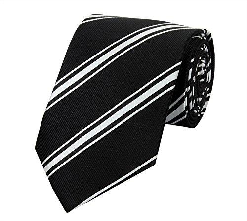 Farbe Krawatte Schwarzes Hemd (Seidenweiche Fabio Farini Krawatte 8 cm in verschiedenen Farben, Schwarz-Weiß gestreift)