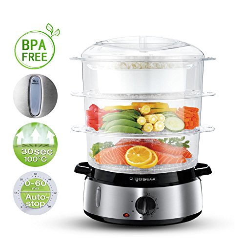 51Ro5aWxr4L. SS500  - Aigostar Fitfoodie 30KHM - Electric Food Steamer, 800W, 3-Tier 9 L Capacity, 60-Minute Timer, Brushed Stainless Steel, Stackable Baskets, BPA Free, Exclusively Design.