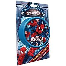 Kids Euroswan Despertador Redondo de 9 cm Modelo Spiderman,, 8x3x6 cm (MV92315)