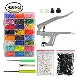 SKR SNAPS Zange mit 420 Set T5 Druckknöpfe in 24 Farben Nähfrei Buttons für alle Arten Kleidung und DIY Basteln