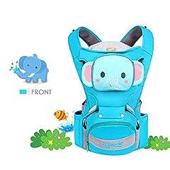 Idea Regalo - SONARIN 4 in 1 Multifunzione Cartone Animato Hipseat Baby Carrier,Portantina per bebè, Ergonomico,Adattato al crescente del tuo bambino,100% GARANZIA e CONSEGNA GRATUITA,Ideale Regalo(Blu)