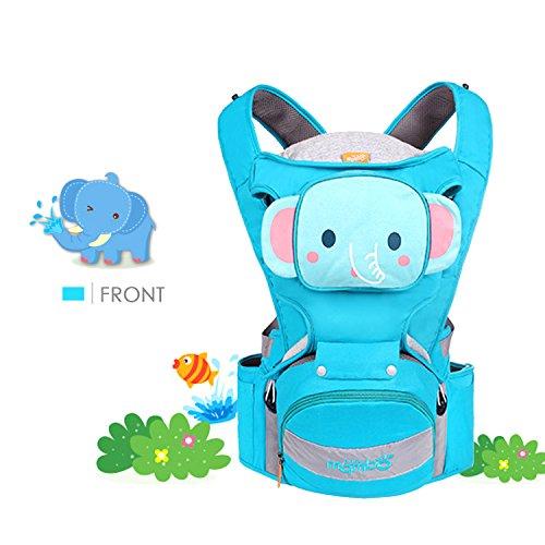 SONARIN 4 in 1 Multifunktions Karikatur Hipseat Baby Carrier,Babytrage,Ergonomisch,Atmungsaktiv,100% Baumwolle, Eine Grösse passt allen, einfach zu tragen und Easy Mom,Gemütlich & Beruhigend für Babys, Angepasst an Ihr Kind wachsende, 100% GARANTIE und KOSTENLOSE LIEFERUNG, Ideal Geschenk(Blau)