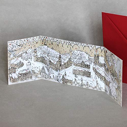 Weihnachtskalender Verschicken.Görlitz Advent Calendar By Astrid Long B6 Folding Card With Red Envelope
