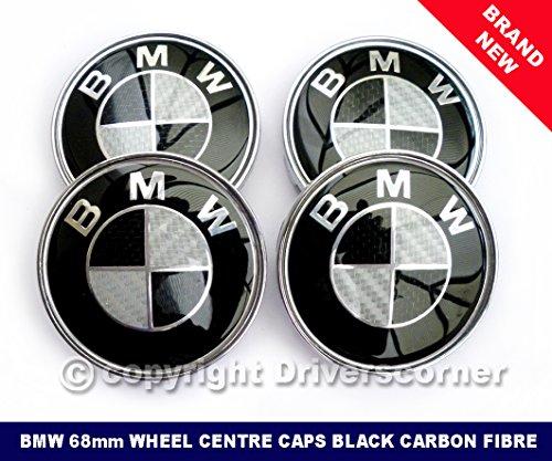 bmw-wheel-centre-caps-black-carbon-fibre-brand-new-68mm-set-of-four-by-driverscorner