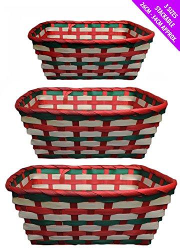 Set de 3 paniers à linge empilable paniers en osier de pique-nique de Noël traditionnel