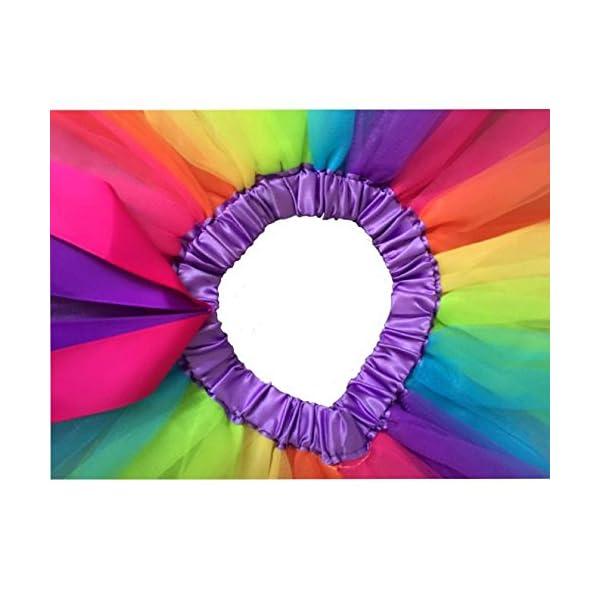 PinkLu Falda De Malla De Arco Iris De Siete Colores NiñAs NiñOs Enagua Arco Iris Pettiskirt Falda Bowknot Vestido Tutu… 5