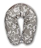 XXL BEZUG für Stillkissen Baby Lagerungskissen Lang Seitenschläferkissen 170 cm A14 Retro Weiß auf Grau