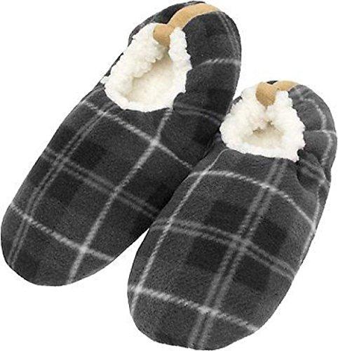 ZEARO Hausschuhe Pantoffeln Lammfell Hausschuhe Herren Karo Winter gefüttert Grau