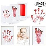 MCREE 3PCS Baby Ink Pad für Baby Fußabdrücke Handabdruck und Fingerabdrücken Kit mit 3extra große Pads und 6Impressum Karten perfekt Keep Baby-Baby Dusche Geschenk, rot