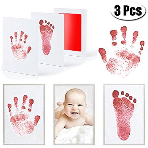 MCREE 3 PCS Baby Ink Pad für Baby Fußabdrücke Handabdruck und Fingerabdrücken Kit mit 3 extra große Pads und 6 Impressum Karten perfekt Keep Baby-Baby Dusche Geschenk (Rot)