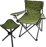 Klapphocker und Klappstuhl Set für Outdoor, Festivals und Camping Farbe Oliv