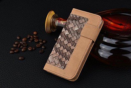 Wkae Case Cover Tissage Motif mixte Couleur PU Case-portefeuille en cuir Avec Cash Card slot stand Case pour Apple iPhone 6s ( PATTERN : F , Size : IPhone 6s ) D