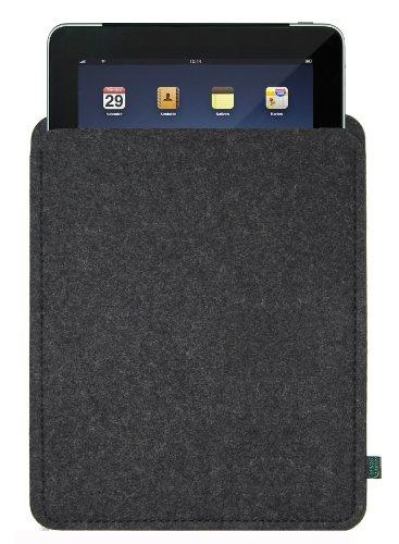 Filztasche für iPad, anthrazit, blanko; Größe für iPad2, iPad3 und iPad Generation 4, ggf. auch für andere Tablets geeignet (Krone-wappen-stickerei)