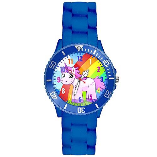 Taffstyle Kinder Armbanduhr Silikon Sportuhr Bunte Sport Uhr Kinderuhr Lernuhr Zahlen mit Einhorn Motiv Analog Quartz Rainbow Lila