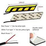 #9: 2 x White L Shape COB Car LED DRL Fog Light Driving + Yellow Turn Signal