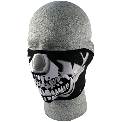ZANheadgear neopreno Skull media mascarilla (Chrome / Negro)