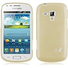 JAMMYLIZARD | Cover custodia PEARLY GEL in Silicone con Effetto Metallizzato per Samsung Galaxy Trend Plus e Galaxy S Duos 2, ORO