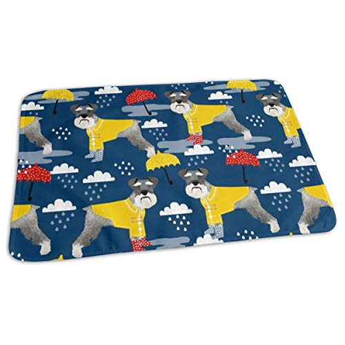 Schnauzer Raincoat Dog Fabric Pattern Spring Navy, Baby Portable Reusable Changing Pad Mat 19.7