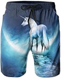 Unicorn Walking on Galaxy Road Toward The Moon Pattern Men's/Boys Casual Shorts Swim Trunks Swimwear Elastic Waist Beach Pants with Pockets