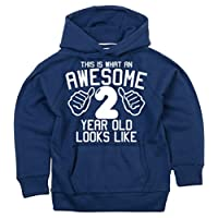 Edward Sinclair This What an Awesome 2 Year Old Looks Like Hoodie Navy Boys 2nd Birthday Hoodie in Size 3-4 Years with A White Print Hoodie