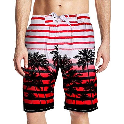 Herren Slim Fit Freizeit Shorts Casual Mode Urlaub Strand-Shorts Sommer Kokosnuss Palmen Rot
