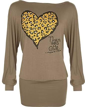 Ladies Animal Heart Print Batwing Womens Stretch Leopard Long Sleeve Top Brown 8/10