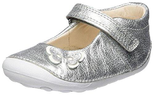 Clarks Baby Mädchen Little Mia Krabbel-& Hausschuhe, Silber (Silver Leather), 21 EU