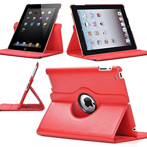 Nouveau design rouge en PU imitation cuir avec support rotatif à 360° Etui folio Housse pour iPad 2