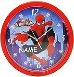 Wanduhr -  Spider-Man  - incl. Name - 25 cm groß - sehr leise ! - Uhr - Analog - Wohnzimmer & Kinderzimmer - für Jungen Kinder - Kinderuhr - Ultimate Spider..
