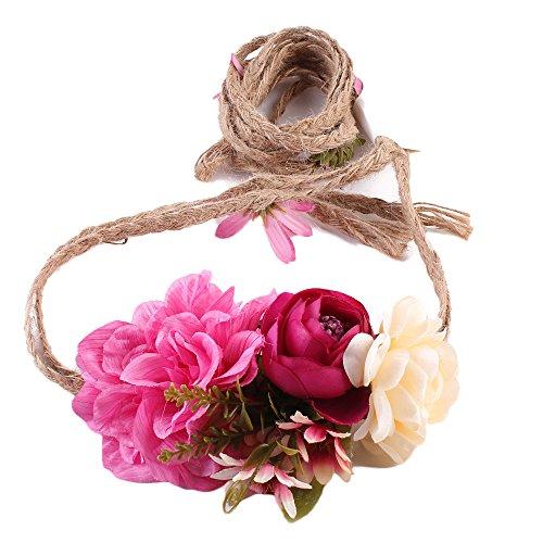 Frauen Weben lange handgemachte Blume Hairband Crown Hochzeit Kranz Braut Kopfschmuck ()