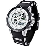 Denis Charm New Fashion WEIDE Mens Sports Watch Analog & Digital Dual Time LCD Backlight WH-1104-1 + Watch Gift Box
