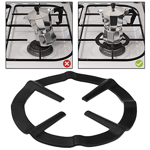 AMOS Gas Ring Reducer Trivet Stove Top Hob Cooker Heat Simmer Coffee Pots Cafetiere Espresso Makers Pans Kitchen Utensil (Black) 51RoDNWgMtL