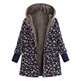 Rosennie Damen Winter Jacke Winter Mantel Retro Mantel Steppmantel Frauen Langarm Vintage Fleece Mäntel Mode Blumendruck Winterjacke Steppjacke Frau Plus Size Outwear Coat(Marine A,L)