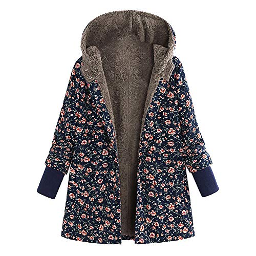 NPRADLA 2018 Mantel Damen Winter Herbst Lang Elegant Frauen Winter Mit Kapuze Langarm Vintage Bedrucked Fleece verdicken Hasp Mäntel Oberbekleidung(Marineblau,5XL/50)