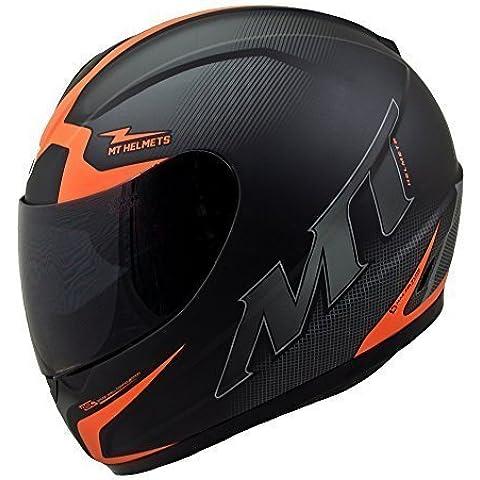 MT TRUENO escuadron casco de moto de cara completa naranja - grande