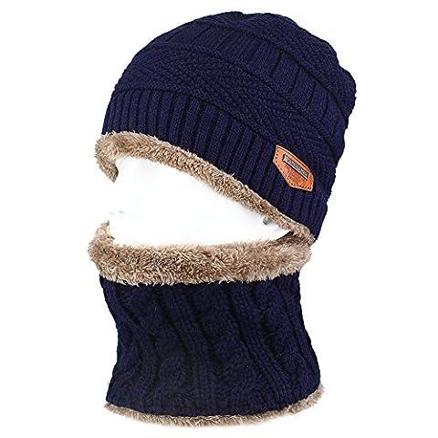Magic Zone pour homme d'hiver à tricoter Tête de mort Casquette et écharpe en laine chaud Slouchy Bonnet, bleu foncé