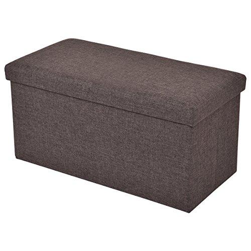 Sitzbox Sitzhocker Sitzwürfel Sitzkasten Sitztruhe Aufbewahrungsbox Truhe Klapphocker Ottomane Fußbank Faltbar 76 x 38 x 38cm (braun)