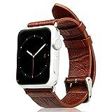 Jisoncase ECHTLEDER Apple Watch 42 mm Armband mit hochwertigem Edelstahl Adapter Krokodil Muster Uhrenarmband Braun Leder Armbänder