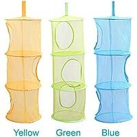 LIVEHITOP 3 piezas Red de malla de almacenamiento cesta, de 3 niveles plegable bolsas de ahorro de espacio de almacenamiento organizador para pequeños colethes (Azul, Verde, Amarillo)
