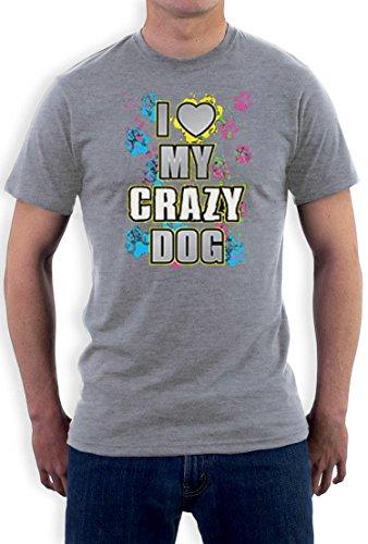 I Love My Crazy Dog funny Motiv T-Shirt Grau