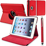 ROTATING 360 (RED) LEATHER CASE COVER FOR IPAD 2 AND 3 AND 4 4TH GEN INCLUDES SCREEN PROTECTOR AND STYLUS PEN