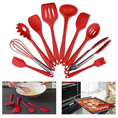 Itian 10 Pieces Nonstick Silicone Kitchen Cooking Utensils Set With Hygienic Solid Coating,Heat Resistant Baking Spoonula,Brush,Whisk,Large and Small Spatula,Ladle,Slotted Turner and Spoon,Tongs,Pasta Fork Red