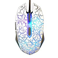 Ambielly Gaming Mice, 2400DPI 6 Buttons Professional Game Mice Usb Wired Gaming Mouse with Led Light Change Shortcuts for Game LOL WOW (White)