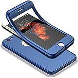 """HICASER iPhone 6s 360 Grad Hülle + Panzerglas, Komplettschutz Vorder und Rückseiten Schutz Schale Ganzkörper-Koffer Soft TPU Schutzhülle für iPhone 6 / 6s 4.7"""" Blau"""